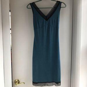 Betsey Johnson Blue tank dress with black trim